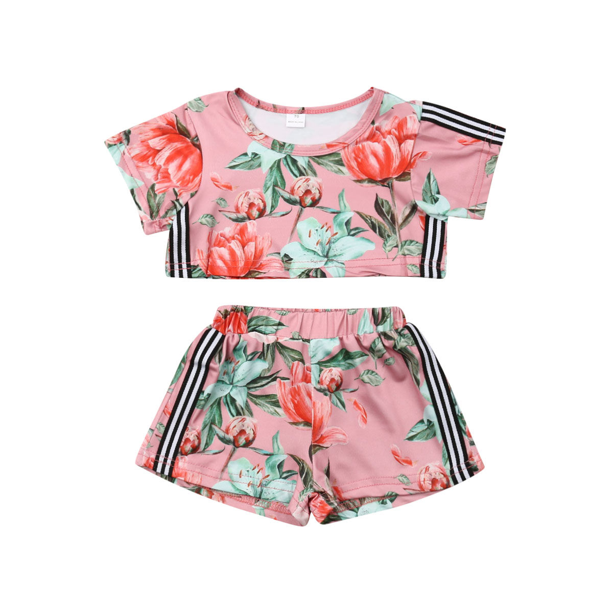 0-3Y Kids Baby Girl Floral Clothes Short Sleeve Crop Tops Shorts Pant 2PCS Outfits Summer Tracksuit Girls Clothing Set0-3Y Kids Baby Girl Floral Clothes Short Sleeve Crop Tops Shorts Pant 2PCS Outfits Summer Tracksuit Girls Clothing Set