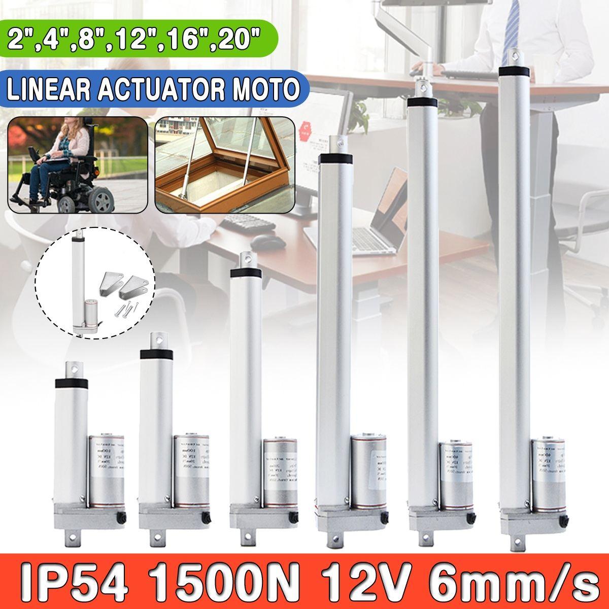 IP54 2 4 8 12 16 20 Pollici 1500N 12 V 6 millimetri/s Piccolo DC Elettrico Asta di Spinta Bianco Per lectric Auto Monociclo Scooter Gamma di Tensione in Ingresso
