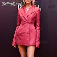 TWOTWINSTYLE Mini Blazer Dress For Women Slim Long Sleeve Double Breasted Dresses Female Fashion Clothes 2018 Autumn Large Sizes