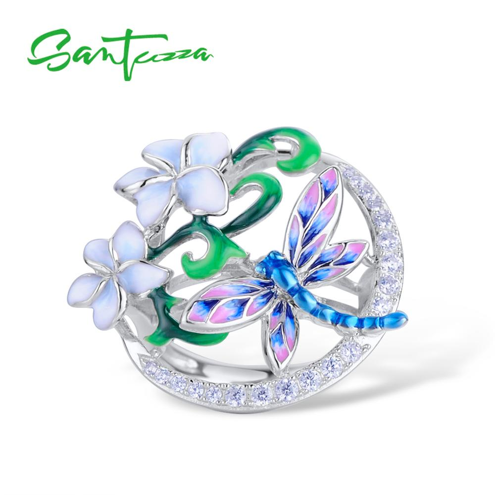 Image 5 - SANTUZZA Jewelry Set 925 Sterling Silver For Woman Dragonfly Flower Ring Earrings Pendant Set Fashion Jewelry HANDMADE Enamel-in Jewelry Sets from Jewelry & Accessories