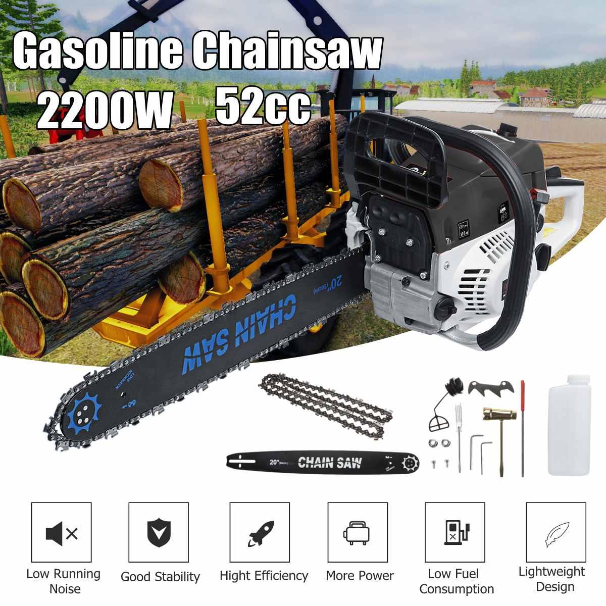 52CC бензопилы 20 ''Бензопилы с цепями бар крышка и набор инструментов для сада дома