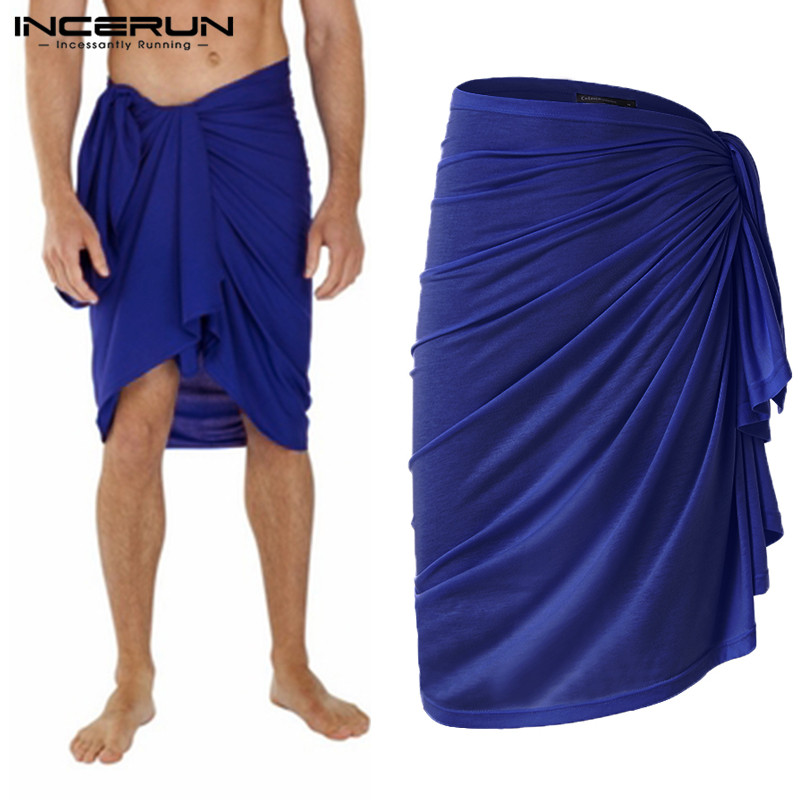 2019 Fashion Men Bath Towel Skirts Leisure Bathrobes Solid Color Homewear Loose Pajamas Beach Men Towel Skirts Blanket INCERUN