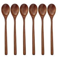 Деревянные ложки, 6 шт кисточки с деревянной ложки для еды смешивание, перемешивание Пособия по кулинарии, ложки с длинной ручкой ложка с японским Стиль Кухня рабочими электрическими схемами