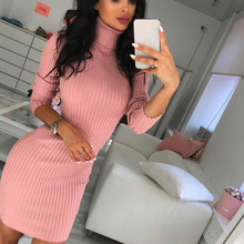 Women High Neck Slim Knitted Solid Wool Mini Dresses Fashion Ladies Basic Long Sleeve Winter Autumn Warm Dresses(China)