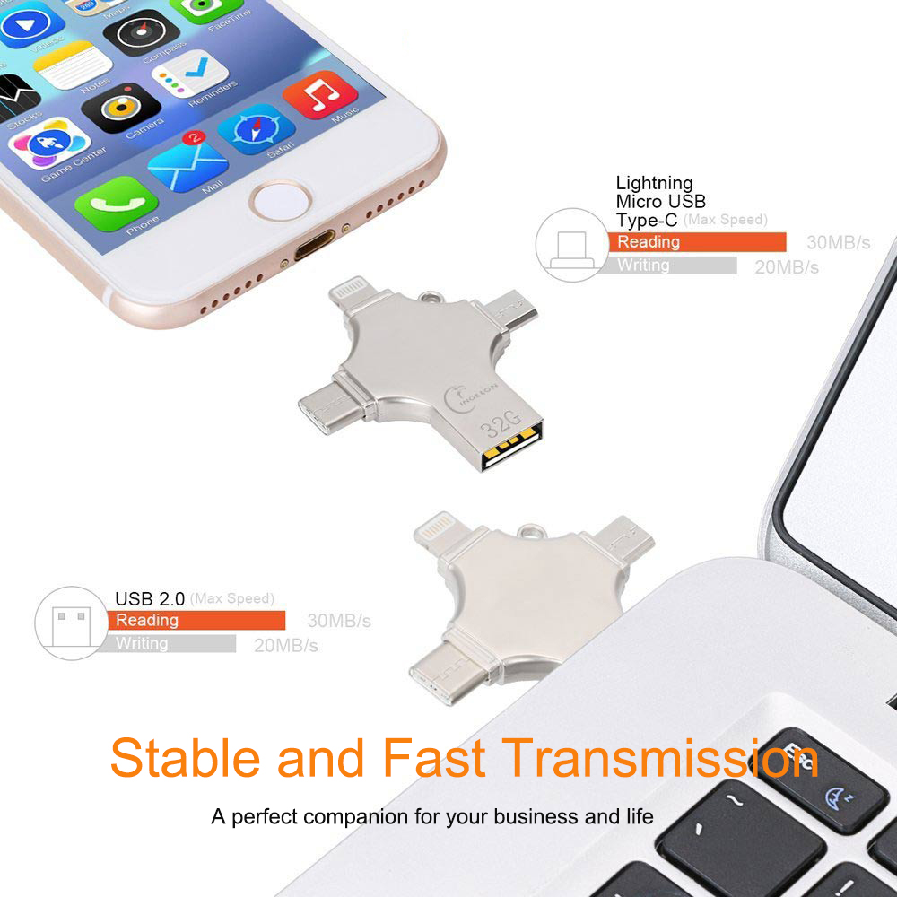 Ingelon Usb Flash 16gb 32gb 64gb 128gb Stick USB-C Typ C Smartphone DIY LOGO micro USB otg Memory Stick für iphone ios telefon title=