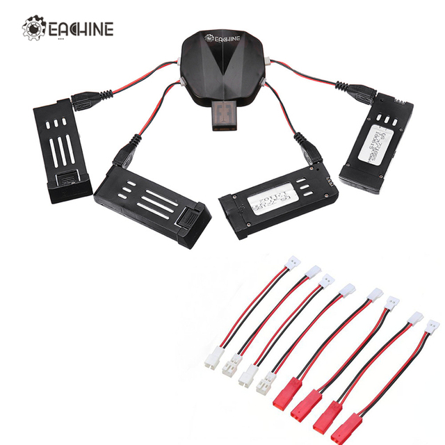 Eachine 4-in-1 USB Charger with 4Pcs 3.7V 500MAH Rechargeable Lipo Battery Charging Cable for E58 E010 X5C H107L