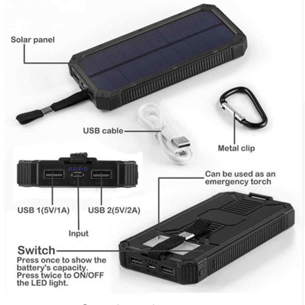 8000 mAh المحمولة خزان طاقة يعمل بالطاقة الشمسية بطارية خارجية المزدوج USB 5 V/2.1A مربع المحمول ليثيوم بوليمر شاحن 230g