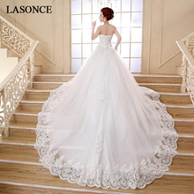 LASONCE Lace Appliques Ball Gown Wedding Dresses Crystal Strapless Sequined Court Train Backless Bridal Dress
