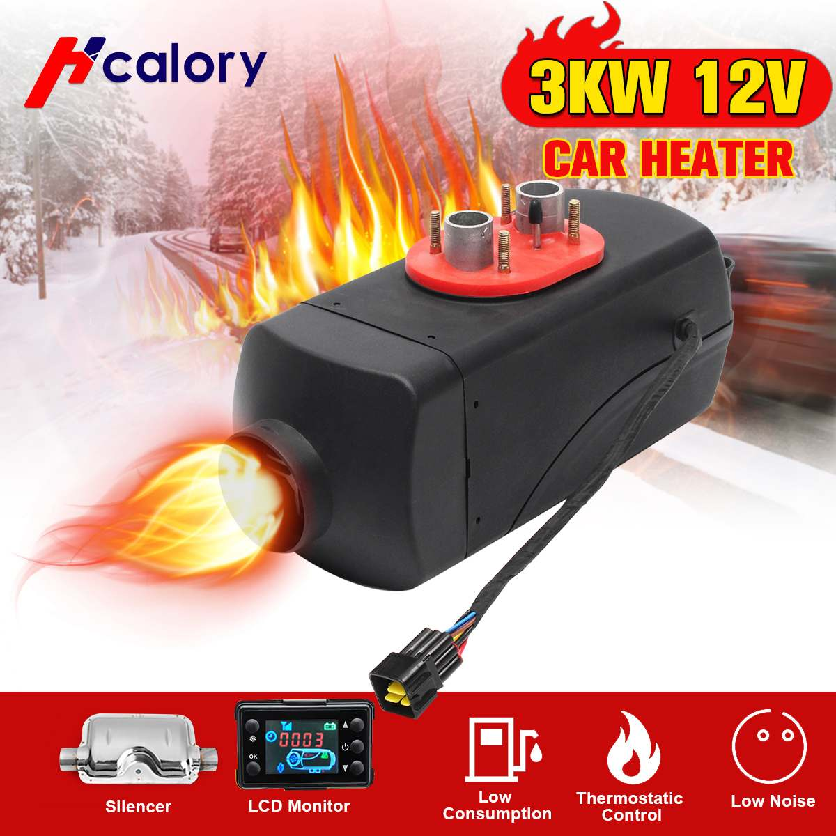Car Heater 3KW 12V Air Diesels Heater Parking Heater With Remote Control LCD Monitor For RV, Motorhome Trailer, Trucks, BoatsCar Heater 3KW 12V Air Diesels Heater Parking Heater With Remote Control LCD Monitor For RV, Motorhome Trailer, Trucks, Boats