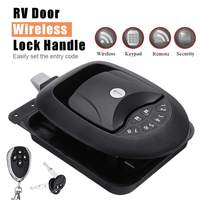Car RV Keyless Entry Wireless Electric Trailer Caravan Boat Door Lock Latch Handle Waterproof Dustproof Black Zinc Alloy+Plastic