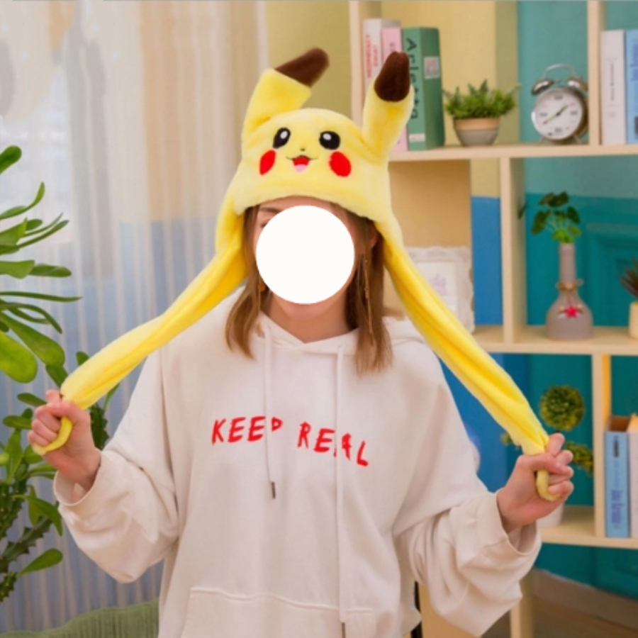 1pc 60cm Funny Pikachu and Rabbit Hat with Ears Moving Plush Toy Stuffed Soft Creative Hat Doll Cute Birthday Gift 8446