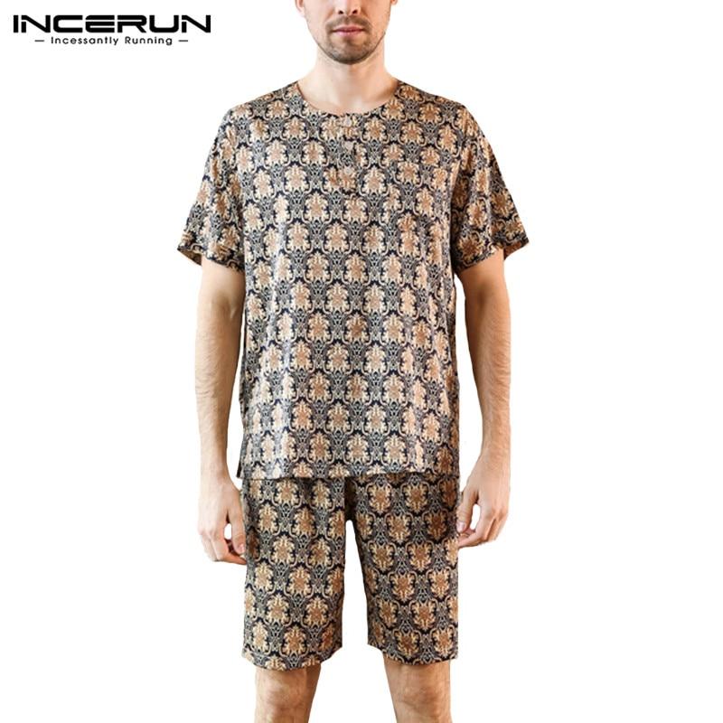 INCERUN Suit Pajamas-Set Shorts Nightgown Sleepwear Plus-Size Print Tops Leisure Men