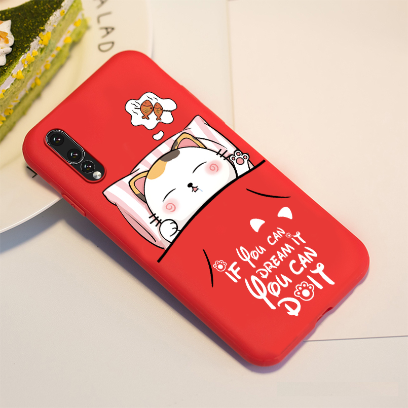 Cartoon Silicone For Huawei Y9 2019 Case Girl Fashion Painted Pattern Bcak Cover For Huawei Y6 Shockproof Bumper Fundas Coque in Fitted Cases from Cellphones Telecommunications