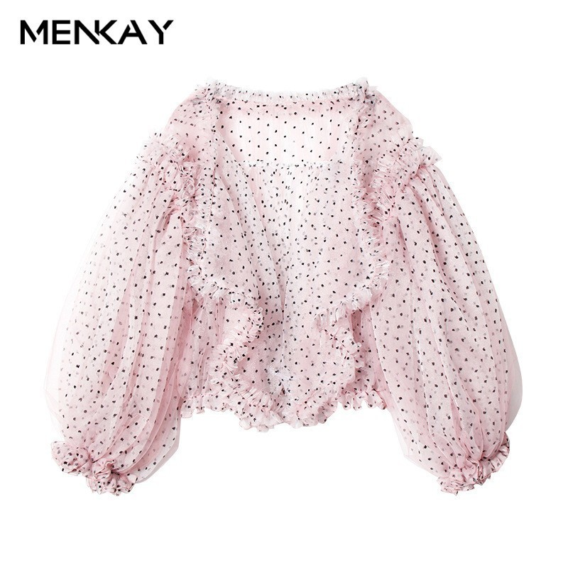 [MENKAY] Beach Long   Trench   Coat Female Dot Mesh Lantern Sleeve Ruffles Patchwork Big Pocket Summer Womens Fashion Sweet Clothing