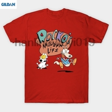 GILDAN rockos modern life Summer 2018 Cotton T-Shirts Mens Big Size T Shirts Short Sleeve Slim Fit Fashion Tops