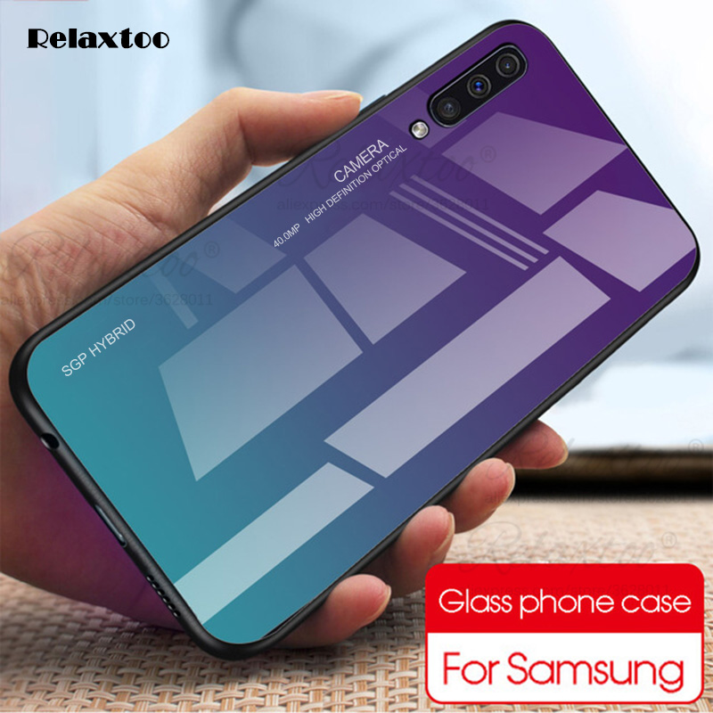 Fashion Gradient Cases For Samsung Galaxy <font><b>A50</b></font> A30 2019 Tempered Glass <font><b>Sansung</b></font> A 30 50 A505 Shockproof Back Cover Shell hard Case image