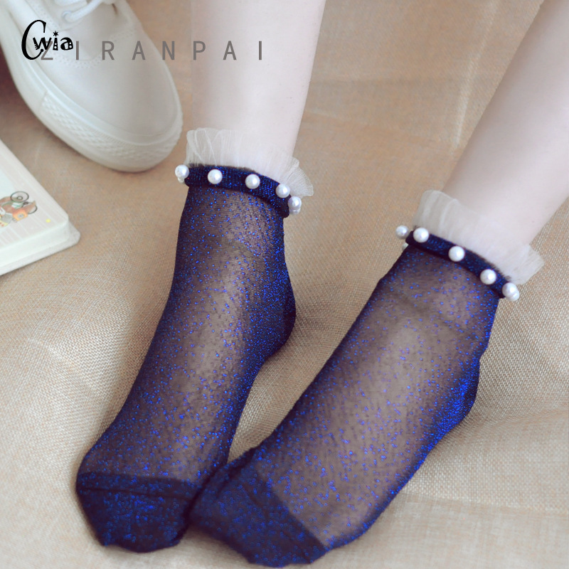 Sexy Lace Mesh Silk Fishnet Socks Fiber Transparent Stretch Elasticity Ankle Net Yarn Thin Women Cool Socks 1pair=2pcs Ws410