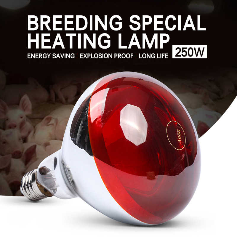 E27 100W/150W/200W/250W Heat Lamp Thickening Smart Infrared LED Light Pet Brooder Hatch Chicken Piggy Dog Cat Bulb AC110-240V