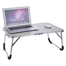 ปรับแบบพกพาแล็ปท็อปโต๊ะอ่านหนังสือพับโต๊ะถาดสีขาว