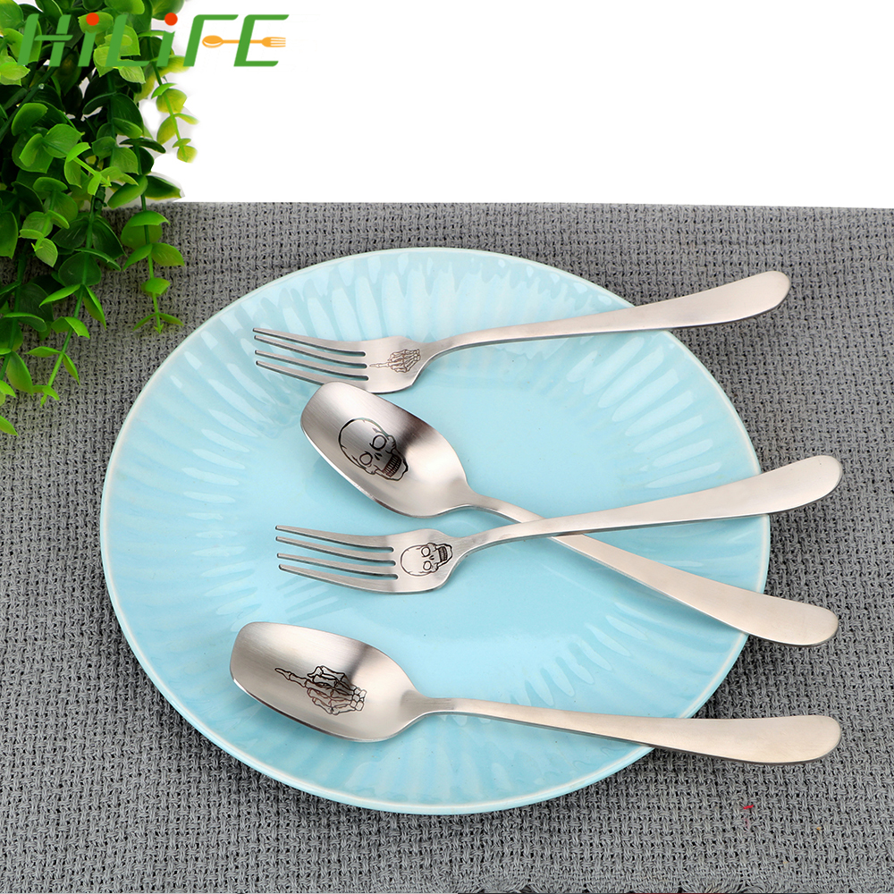 HILIFE Stainless Steel Spoon Forks Skeleton Skull Printed Kitchen Tools Cooking Accessories Dinnerware Flatware Tableware