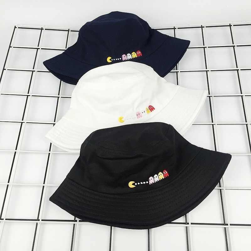 4a5d461ac87 ... 2018 New Autumn Hat Women Mens Panama Bucket Hat Eat Peas Design Flat  Sun Visor Fishing