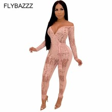 Sexy Deep V Neck Sheer Mesh Jumpsuit Backless Long Sleeve Women Night Club Party Romper Fashion Bar Overalls Yoga Sets Costumes недорого