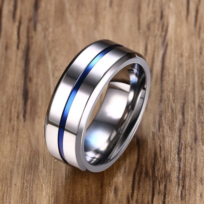 Vnox 8mm Black Ring for Men Women Groove Rainbow Stainless Steel Wedding Bands Trendy Fraternal Rings Casual Male Jewelry