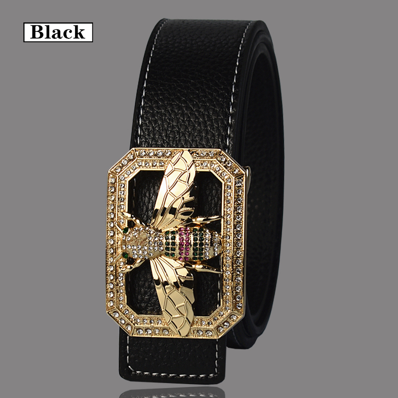 Image 3 - Luxury Brand Belts for Men &Women Unisex Fashion Shiny Bee Design Buckle High Quality Waist Shaper Leather Belts 2019-in Men's Belts from Apparel Accessories on AliExpress