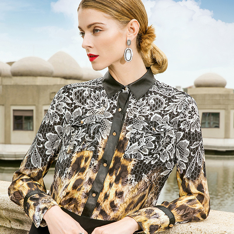 POKWAI Women Silk Blouse Turn down Collar Full Sleeve Leather Spliced Leopard Printed High Quality Casual