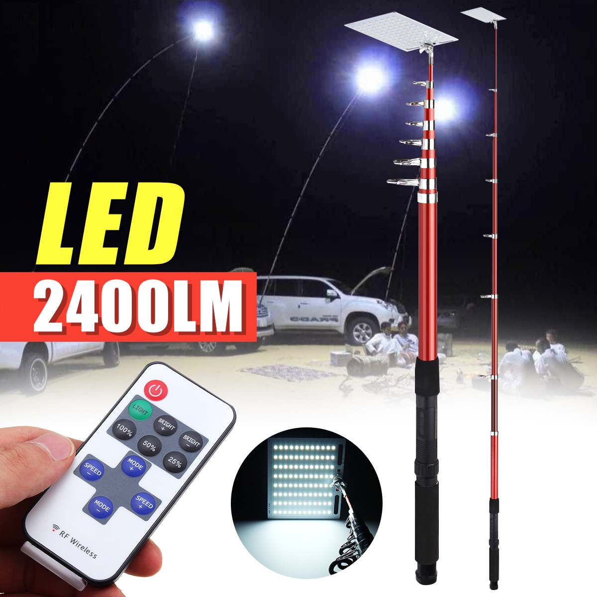 Us 29 54 38 Off 2400lm 12v Fishing Lamp Rf Remote Control Telescopic Camping Lantern Tackle Accessories Portable Outdoor Lighting In