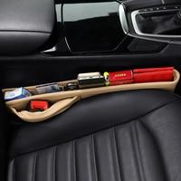 2pcs Universal Car Seat Gap Pockets Leather Auto Seats Filler Leak Stop Pad Spacer Holster Phone Organizer Storage Bags