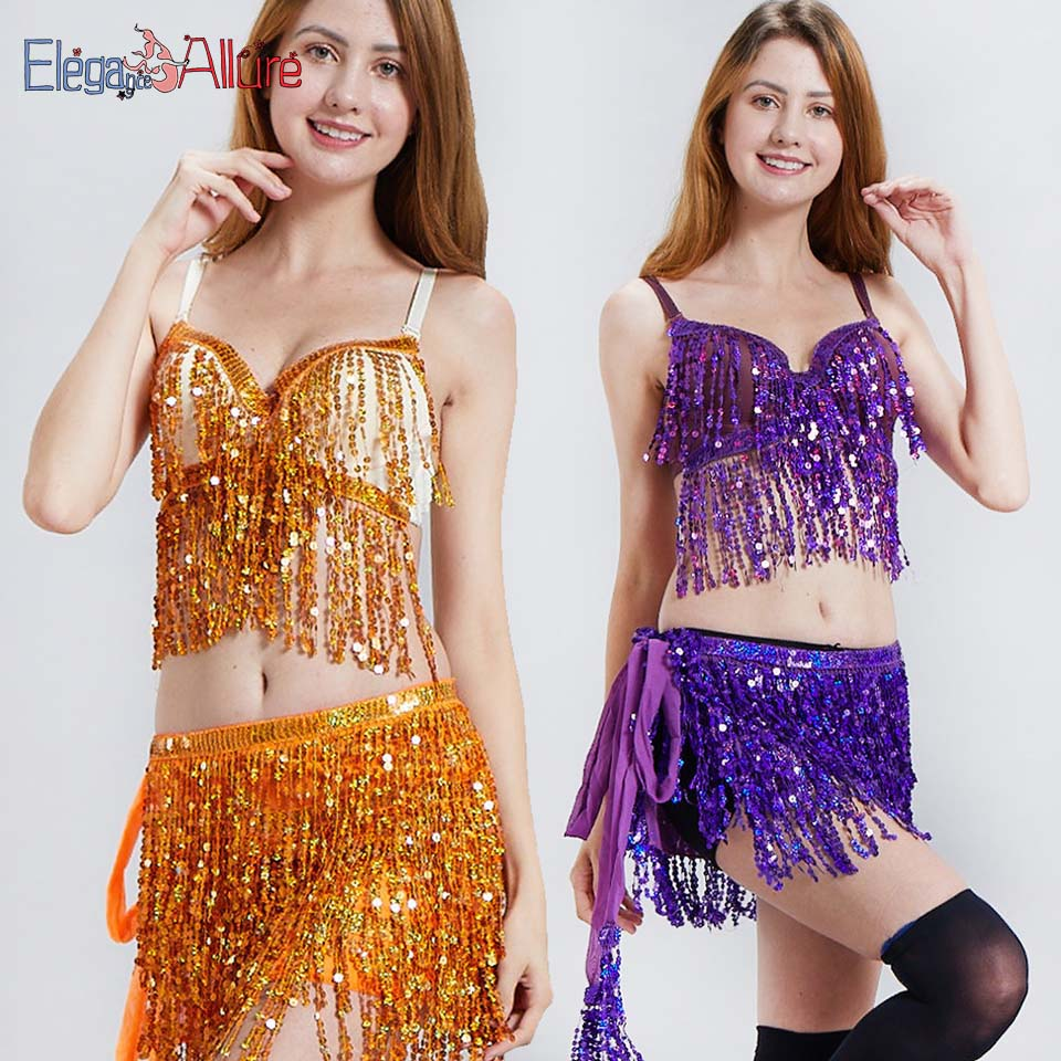 E A Belly Dancing Bra and Skirt Set Bellydance Costume Tassel Top Wrap Skirt Latin Dancewear Performance Glitter Belt Bollywood in Belly Dancing from Novelty Special Use