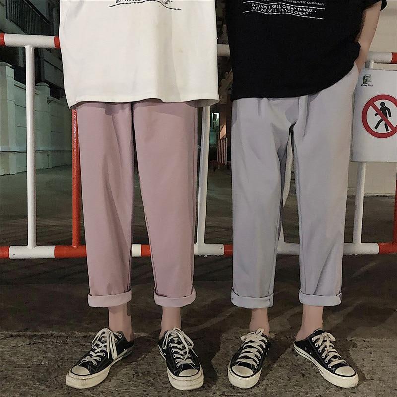 Haren-Pants Trousers Loose Leisure Men's Cotton Summer Tide Pink/apricot-Color M-2XL