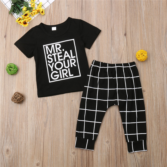 b0713edf MR STEAL YOUR GIRL Toddler Kids Baby Boy Outfits Clothes T-shirt Top+Plaid  Pant Trouser 2PCS Set 1-6 Years