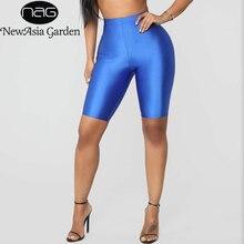 NewAsia Summer Shorts Women Casual Solid Biker Shorts High Waist Shorts Streetwear Fitness Gloss Black Cycling Shorts Femme 2019