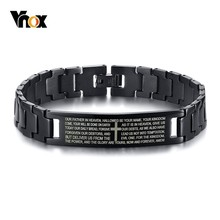 Vnox Mens Vintage Engraved Matthew 6:9-13 Bible Lords Bracelets Black Stainless Steel Prayer Religious Wrist pulseira masculina
