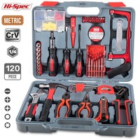 Hi Spec 120pc Hand Tool Set Household Home Garage Tool Set with Pliers Wrench Spanner Hammer Saw Screwriver Bits Set Socket