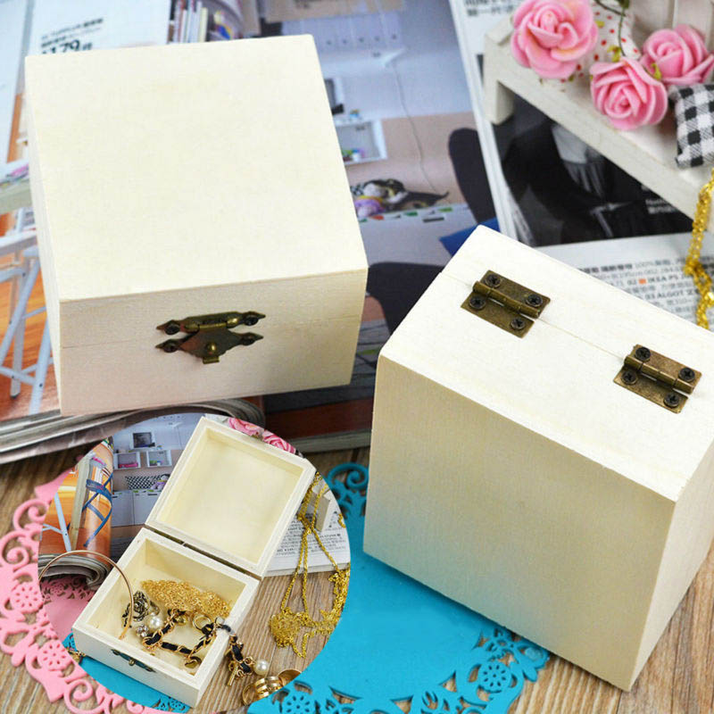 1Pcs Square Rectangle Round Wooden Box Jewelry Case Multifunction Gift Packing Home Storage Boxes Vintage Handmade Craft