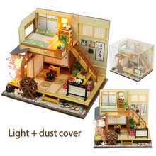 DIY Japanese Style Doll House Wooden Doll Houses Miniature Dollhouse Furniture Kit Toy for Kids Birthday Gift Double Layer Loft(China)