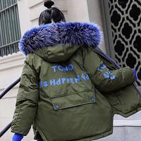 Short Winter Woman Coats 2018 Coat Female Jacket Cotton Women's Winter Down Jacket For Women Fur Collar Warm Loose Letter Parka