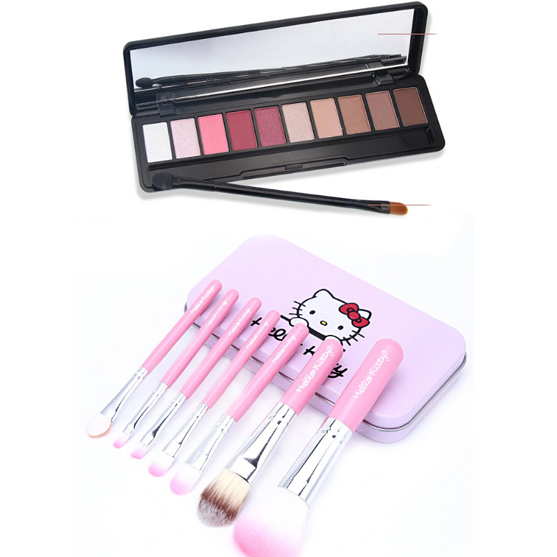 Ten Color Eyeshadow beginners + Hello Kitty Hellokitty iron case Makeup Brush Set 7 pieces