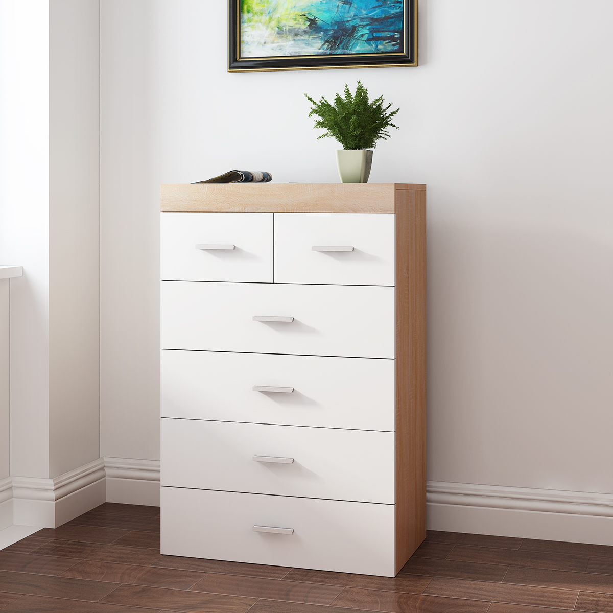 Panana White & Oak Wooden Chest of 5 /6 Drawers Bedroom Storage Furniture Clothes / Shoes organizer Box Free StandPanana White & Oak Wooden Chest of 5 /6 Drawers Bedroom Storage Furniture Clothes / Shoes organizer Box Free Stand