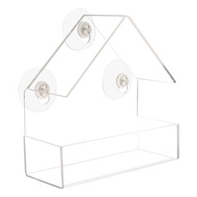 Практический прозрачный пластиковый тип адсорбции форма дома кормушка для птиц инновационная всасывающая кормушка-чашка