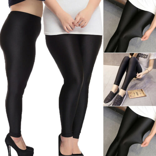 2019 New Fashion Women's Shiny High Waist Stretchy Disco Dance Ladies Black Solid   Leggings   Pants Plus Size