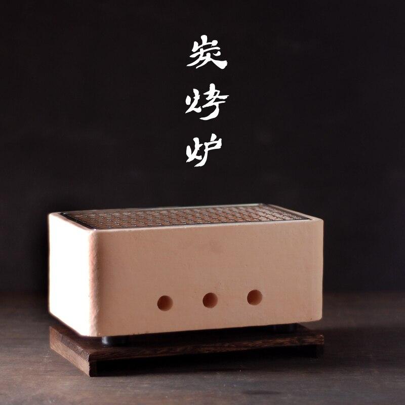 Barbecue au charbon de bois de style japonais épaississement petit poêle maison en plein air mini BBQ boue rôti viande charbroiler outil