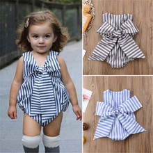 2019 New Baby Kids Girls Bow Stripe Sleeveless Jumpsuit Bodysuit Children New Born Baby Clothes Swimwear Beach Clothes Outfit