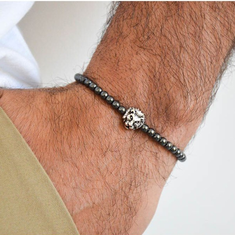 Crown Charm Men bracelet with hematite beads unique black crown zircons Diy Bracelets Pulseira Masculina Feminina Jewelry Gift