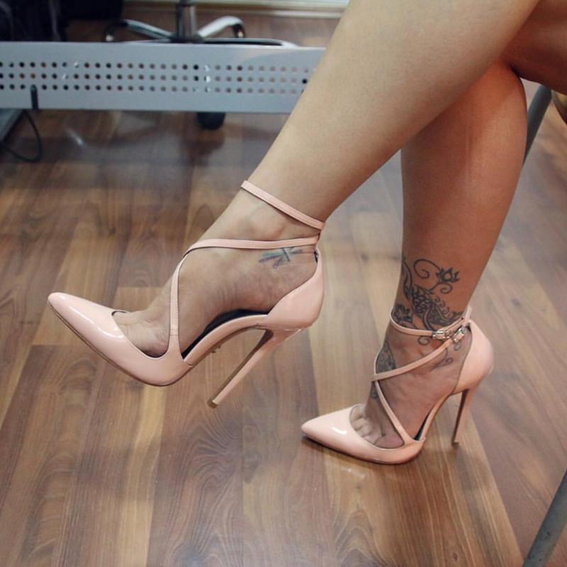 Plus Size <font><b>10</b></font> <font><b>Sexy</b></font> Nude Patent Leather Cross Strap Sandals Cut-out Pointed Toe Ankle Strap Ladies Dress Shoes Customized image