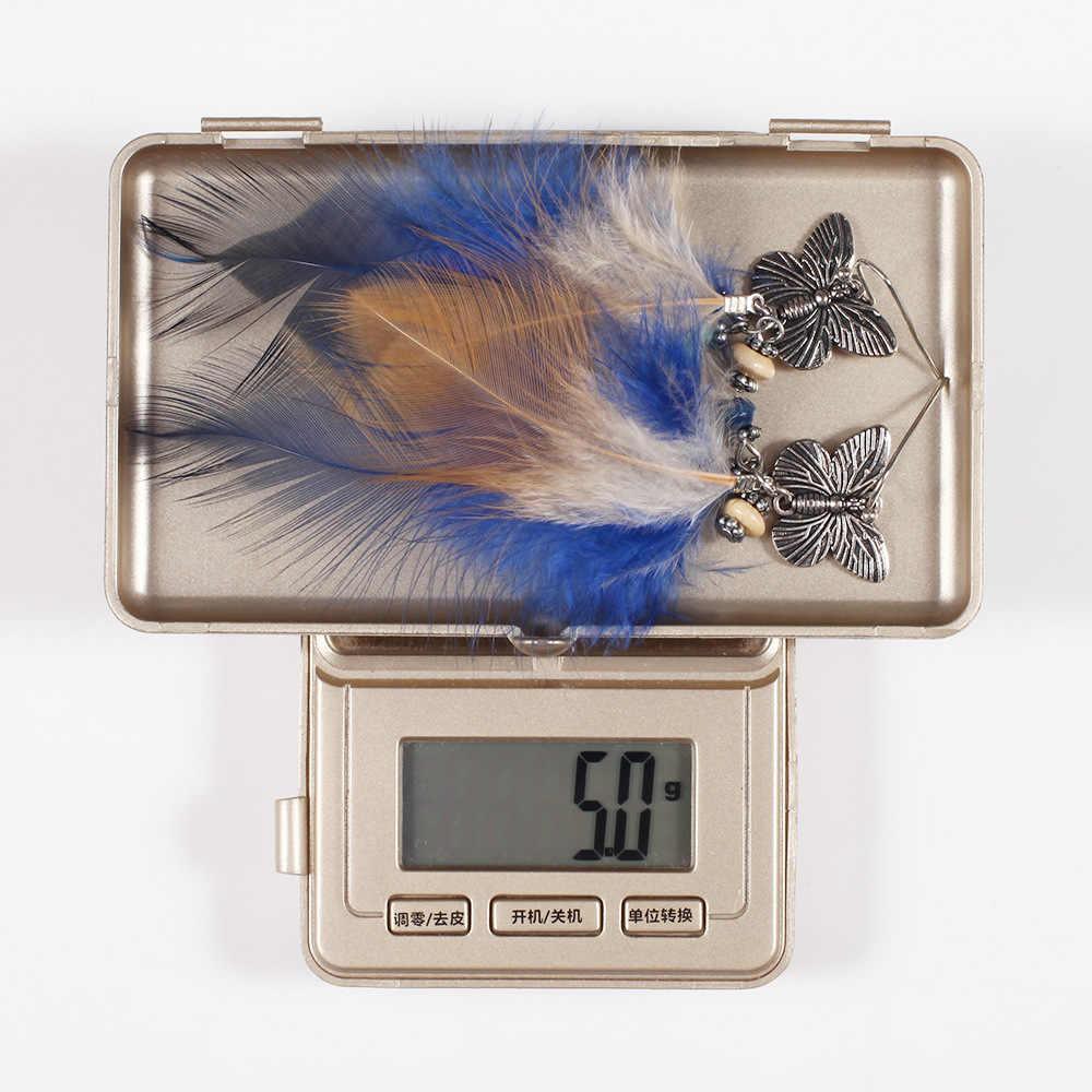 トレンディ翼ロングドロップイヤリングファッション羽スタイルエスニック自由奔放に生きるビッグ文結婚式のイヤリングのアクセサリー