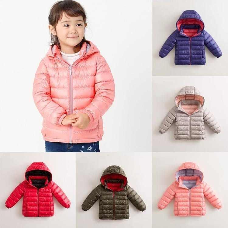 Новая модная легкая пуховая куртка-пуховик с перьями для девочек и мальчиков на осень и зиму с капюшоном, детская одежда